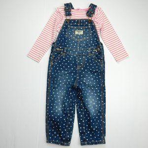 Girls 18 Months Heart Denim Overalls Bodysuit set